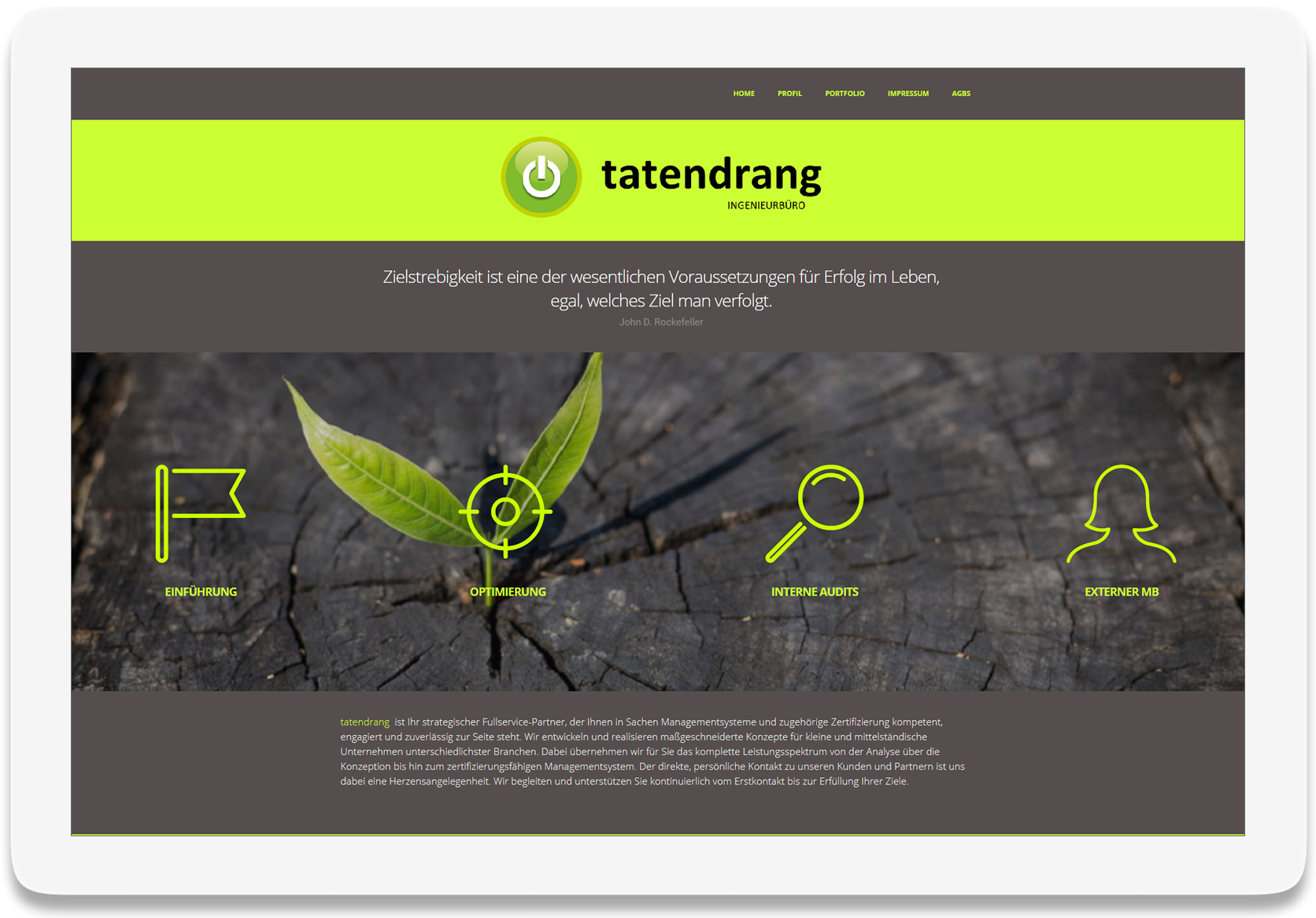 Referenz Website Tatendrang