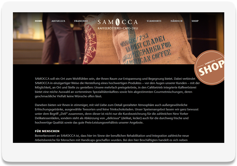 Referenz Website Samocca