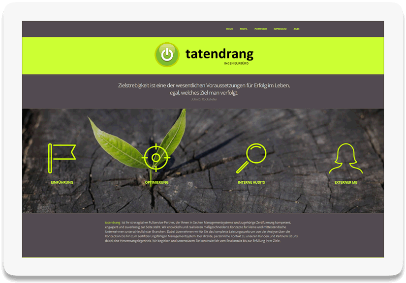 screen desktop tatendrang2 - Referenz 44media Website Tatendrang